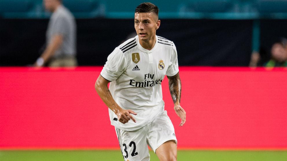 Javi Sánchez, durante su debut con el Real Madrid. (Getty)