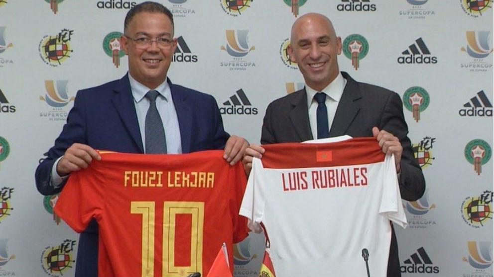 Rubiales durante la presentación de la Supercopa de España. (RFEF)