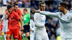 Asensio y Cristiano celebran sendos goles junto a Bale.