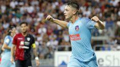 Borja Garcés celebra su gol en el Cagliari – Atlético. (@atleti)
