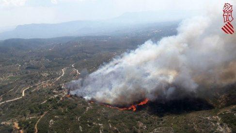 Uno de los frentes del incendio de Llutxent, en Valencia. (Foto: Bomberos Valencia)