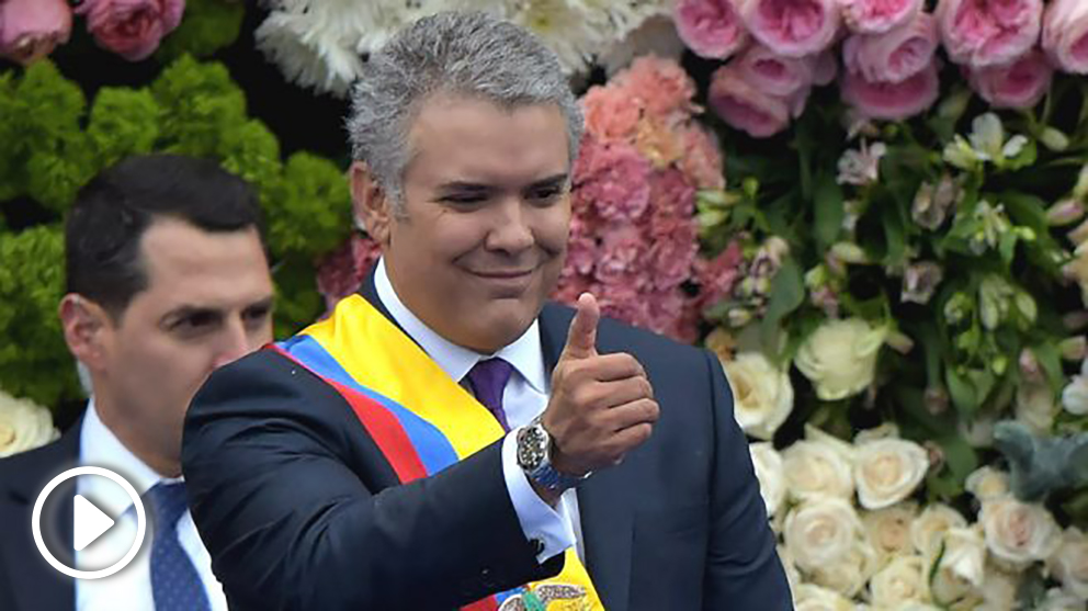 Iván Duque, en su toma de posesión como nuevo presidente de Colombia. (AFP)