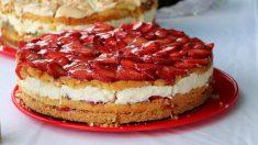 Receta de pastel de nata con fresas