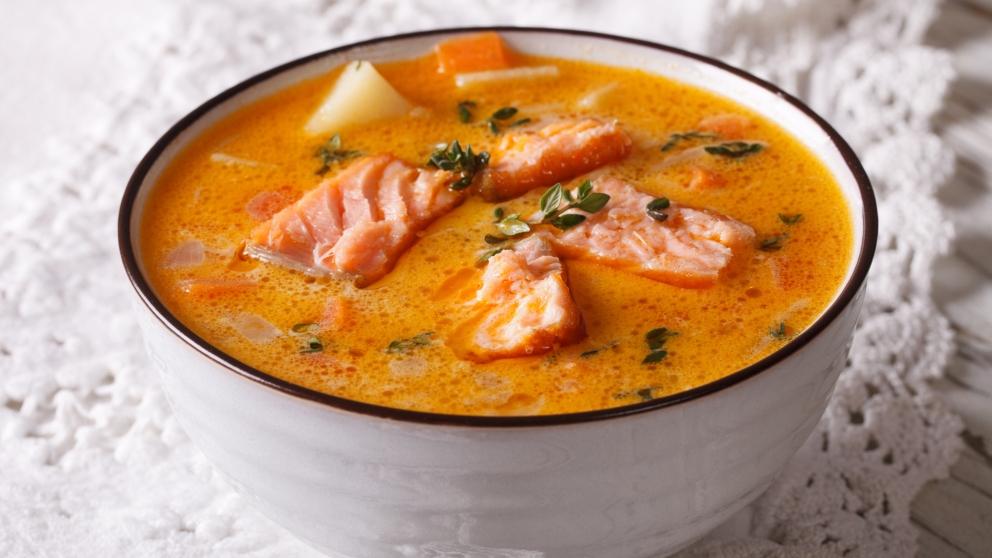 Receta de sopa de salmón