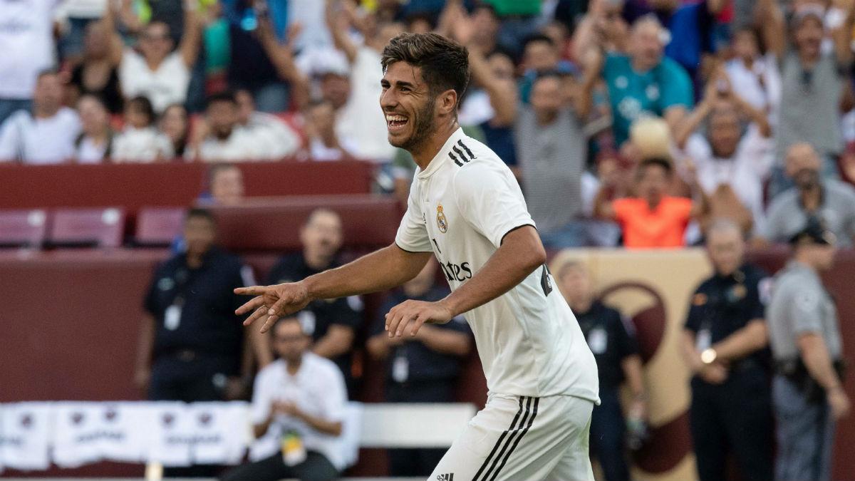 Marco Asensio celebra uno de sus goles ante la Juventus. (Getty)