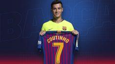 Philippe Coutinho posa con su nueva camiseta con el dorsal '7'. (fcbarcelona.es)