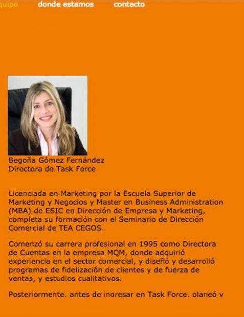 Currículum de Begoña Gómez en la web de Task Force-Inmark.