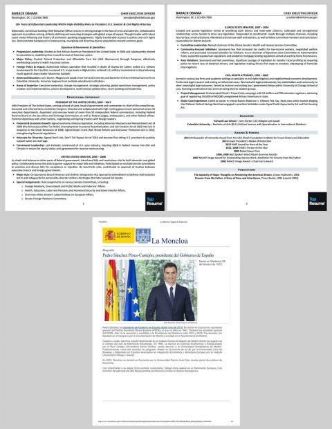 El currículum de Barack Obama, arriba, y el de Pedro Sáchez, abajo.