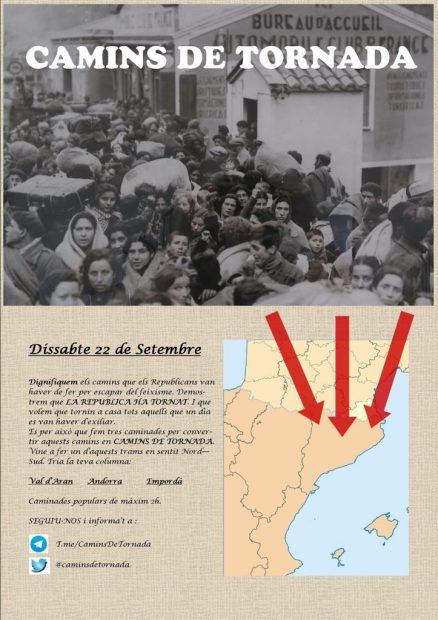"""Cartel de los CDR con las tres """"marchas republicanas"""" convocadas para el 22-S."""