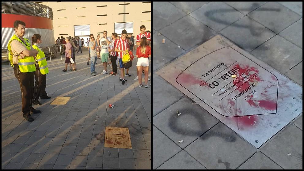 La placa de Courtois en el Metropolitano dañada.