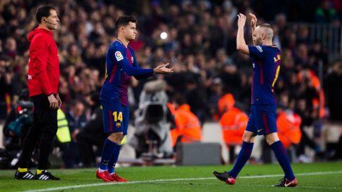 Coutinho e Iniesta, en un partido del Barcelona. (Getty)
