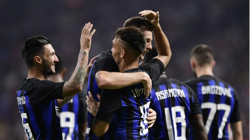 El Inter de Milán celebra un gol en el Metropolitano. (AFP)