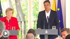 Angela Merkel y Pedro Sánchez, este sábado en Cádiz.