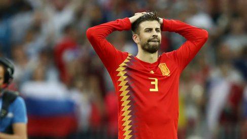 Piqué, en su último partido con España. (Getty)