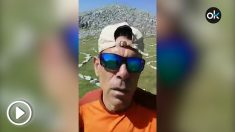 Un montañero aragonés indignado al encontrar símbolos separatistas en el Pirineo de Huesca.