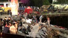 Hundimiento una grada en el puerto de Vigo mientras se celebraba el festival O Marisquiño.