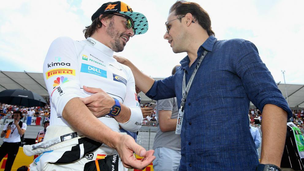 Felipe Massa junto a Fernando Alonso. (Getty)