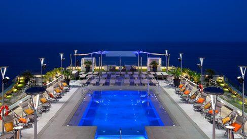 Rooftop Pool Night
