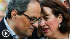 El presidente de la Generalitat, Quim Torra (i) y la presidenta de la ANC, Elisenda Paluzie (d). Foto: EFE