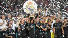 El Real Madrid levantó la pasada campaña la Supercopa de Europa, en Skopje (AFP).