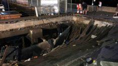 Plataforma tras el derrumbe. Foto: EFE