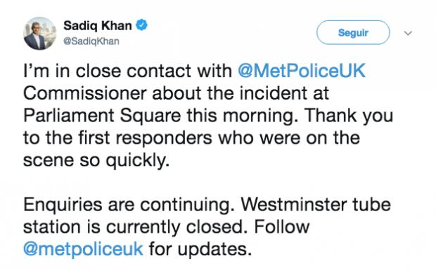 Mensaje del alcalde de Londres, Sadiq Khan.