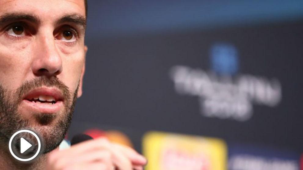 Godín, durante una rueda prensa. (Atlético de Madrid)