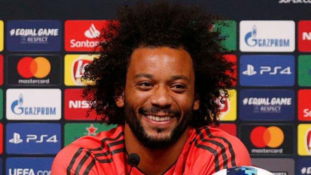 Marcelo, durante la rueda de prensa previa de la Supercopa. (Realmadrid.com)
