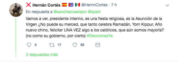Sánchez se 'olvida' de felicitar la Virgen del 15 de agosto como sí hizo con el Ramadán