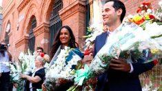 Begoña Villacís e Ignacio Aguado (C's) durante la ofrenda floral a la Virgen de la Paloma en Madrid. Foto: Europa Press