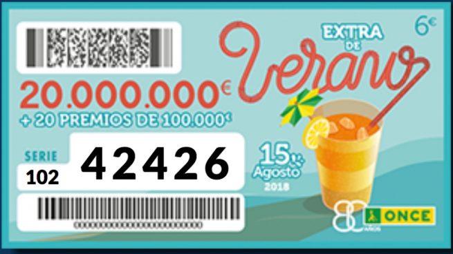 42426 Cupón premiado en el sorteo Extra de verano de la Once 2018