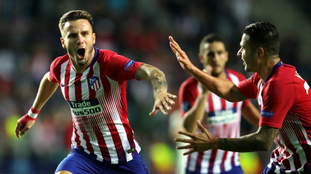 Saúl celebra su gol al Real Madrid en la Supercopa. (Getty)