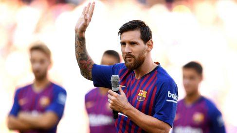 Messi prometió hacer todo lo posible para ganar la Champions en su primer discurso como capitán. (Getty)