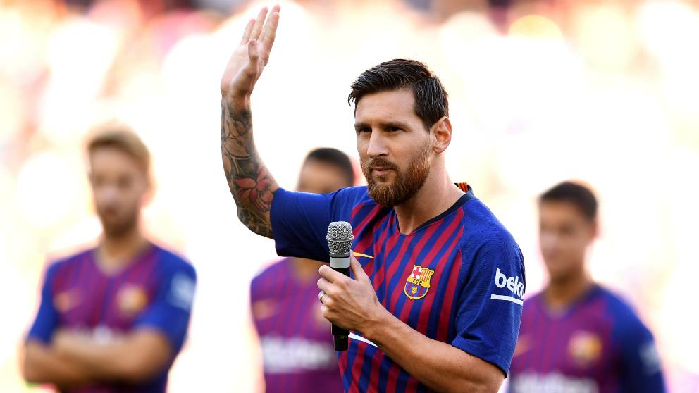 Messi se dirige al Camp Nou.