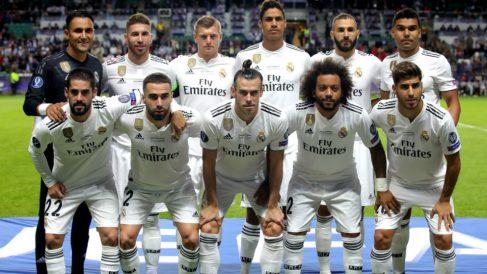 El once titular del Real Madrid en la Supercopa de Europa. (Getty)
