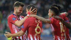 Saúl y Koke celebran el gol de este último (AFP).