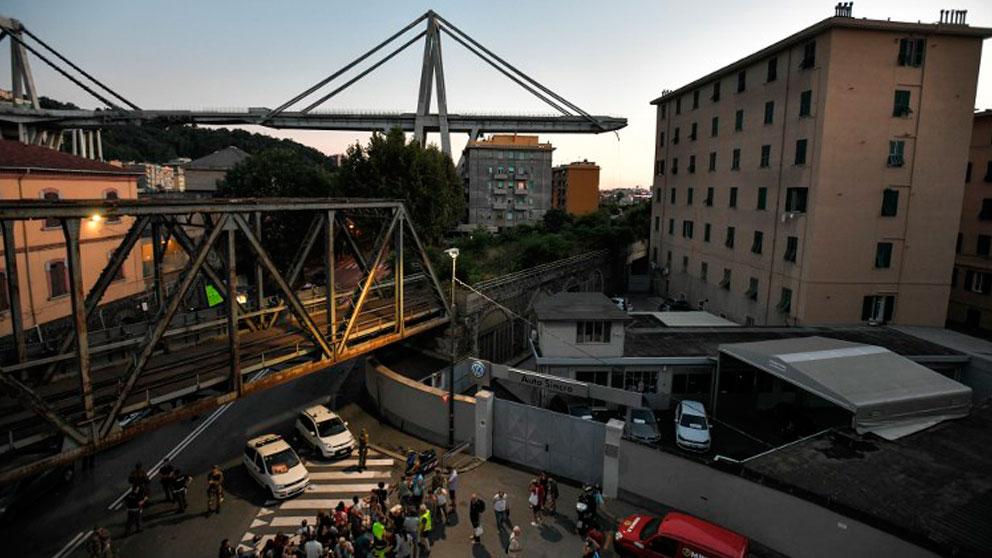 Génova amanece con la tragedia del puente Morandi aun reciente. Foto: AFP
