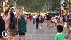 Las Ramblas de Barcelona, un año después de los atentados del 17-A.