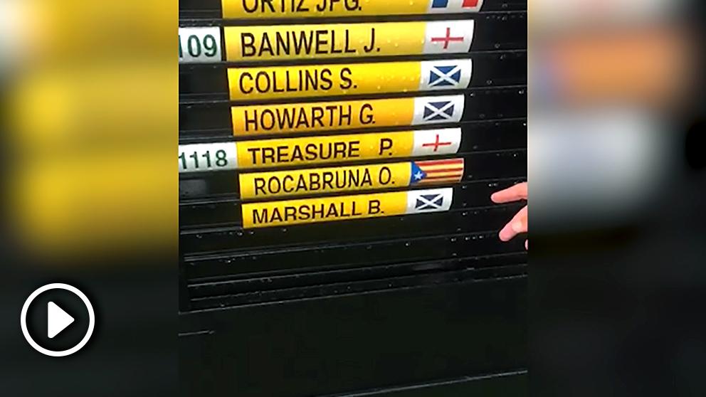 El jugador Oriol Rocabruna ha colocado una estelada para que no le identifiquen como español.