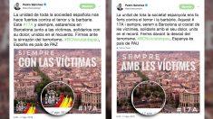 Mensajes publicados por Pedro Sánchez en Twitter.
