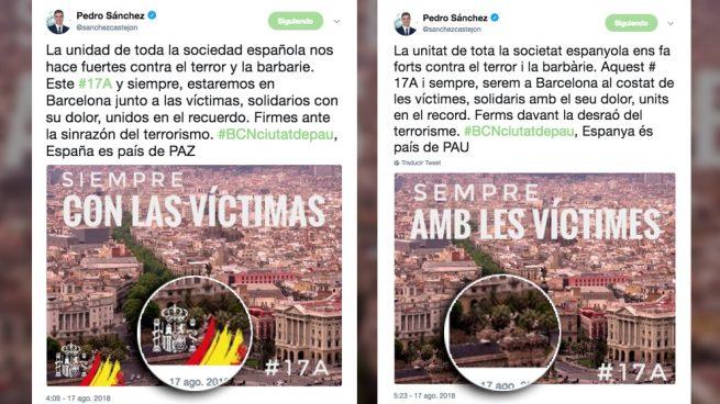 Sánchez borra la bandera española en su mensaje en catalán por las víctimas del 17-A