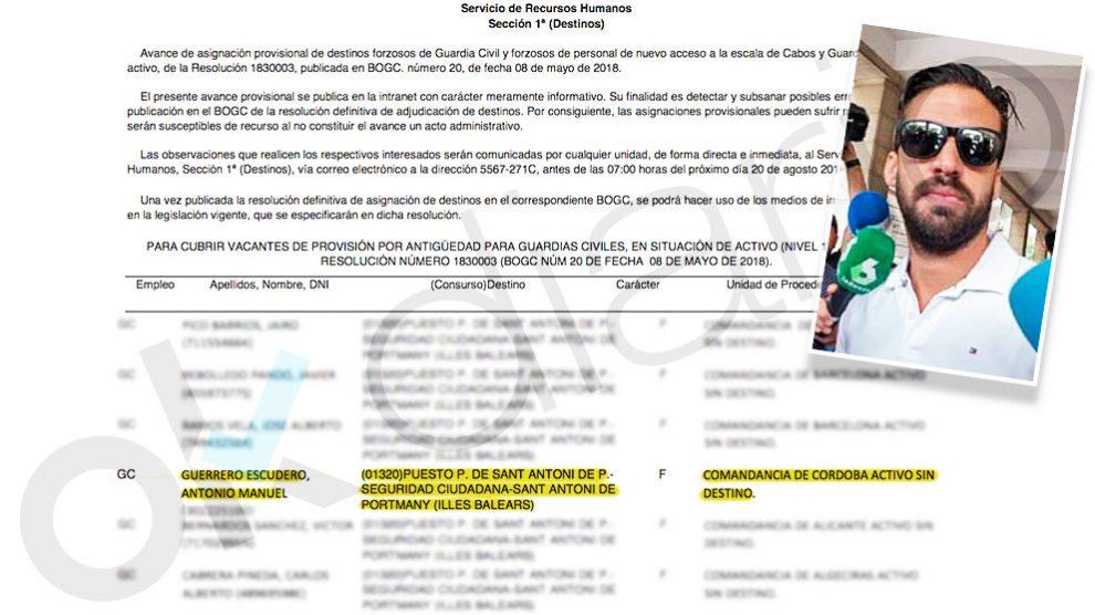 Listado provisional en el que se asignaba por error al guardia civil de La Manada, Antonio Manuel Guerrero, un nuevo destino en Eivissa.