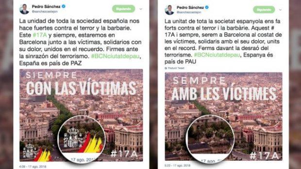 Tuit de Pedro Sánchez sobre el 17-A en castellano con la bandera de España y en catalán sin ella.