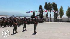 Tropas españolas en la base Miguel de Cervantes de Líbano guardan un minuto de silencio por las víctimas de los atentados del 17-A.