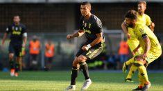 Cristiano, en su debut ante el Chievo. (AFP)