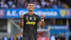 Cristiano Ronaldo, en su debut oficial con la Juventus. (AFP)