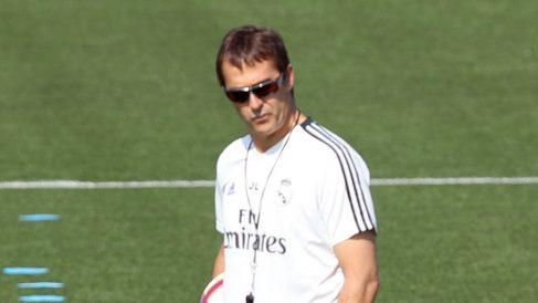 Lopetegui, en el entrenamiento de este sábado del Real Madrid.