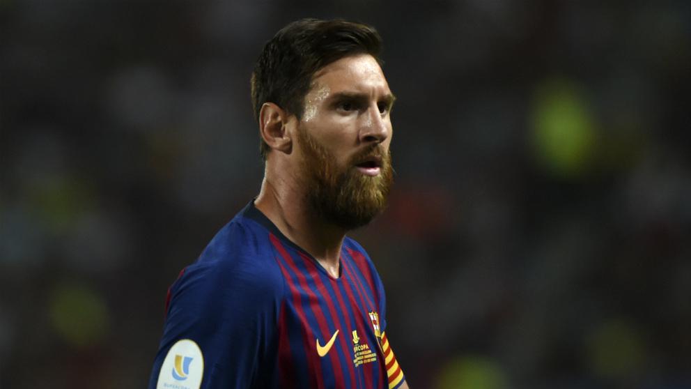 Leo Messi, durante un partido con el Barcelona.