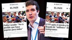 Así cambió el diario El País su titular sobre las declaraciones de Pablo Casado, en cuestión de horas.