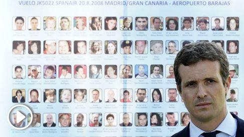 Pablo Casado, presidente del PP, en el acto por el 10º aniversario del accidente de Spanair. (TW)